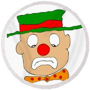 Mournful Clown Round Beach Towel