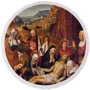 Mourning Over The Dead Body Of Christ Round Beach Towel