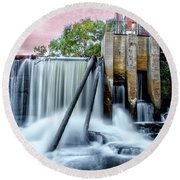 Mousam River Waterfall In Kennebunk Maine Round Beach Towel