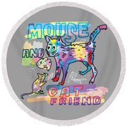 Mouse And Cat Friend Round Beach Towel