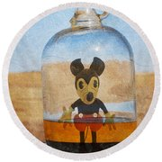 Mouse In A Bottle  Round Beach Towel