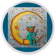 Mouse On The Moon Round Beach Towel