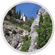 Moustier St. Marie Church Round Beach Towel