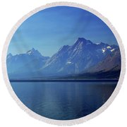Moutains In Blue Round Beach Towel
