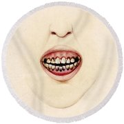 Mouth Of Gouty Patient, Illustration Round Beach Towel