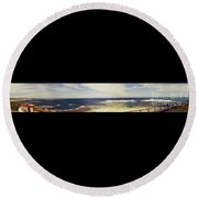 Mouth Of Margaret River Beach Panorama Round Beach Towel