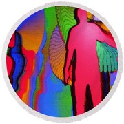 Human Movement In Color Round Beach Towel
