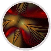 Movement Of Red And Gold Round Beach Towel