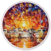 Movement Of The Sea Round Beach Towel
