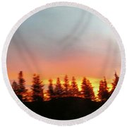 Movement Of The Sky And Forest Trees Round Beach Towel