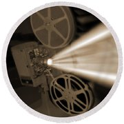 Movie Projector  Round Beach Towel