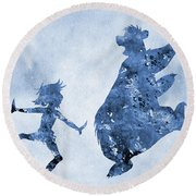 Mowgli And Baloo-blue Round Beach Towel