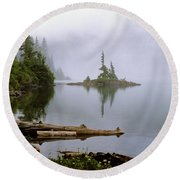 Mowich Lake In Fog  Round Beach Towel