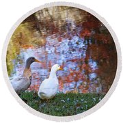 Mr And Mrs Duck Round Beach Towel