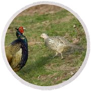 Mr And Mrs Pheasant Round Beach Towel