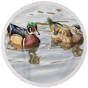 Mr. And Mrs. Wood Duck Round Beach Towel