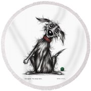 Mr Bark The Noisy Dog Round Beach Towel