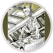Mr Bones In Black And White With Sepia Tones Round Beach Towel