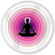 Meditation With Yoga Round Beach Towel