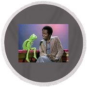 Mr Lou Rawls - Kermit The Frog Round Beach Towel