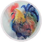 Mr Rooster Round Beach Towel