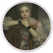 Mrs Abington As Miss Prue In Love For Love By William Congreve Round Beach Towel