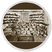 Mrs. Butts Mortar And Pestle Collection Found In San Benito Co. Round Beach Towel