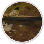 Mrs. Chase In Prospect Park , William Merritt Chase Round Beach Towel
