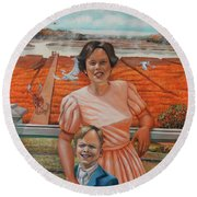 Mrs. Curry And Son Round Beach Towel