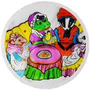 Mrs. Mouse Tea Party Round Beach Towel
