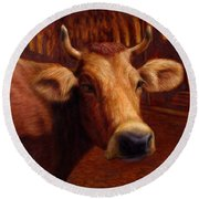 Mrs. O'leary's Cow Round Beach Towel by James W Johnson