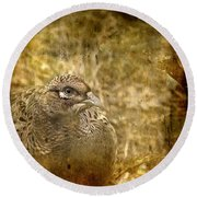 Mrs Pheasant Round Beach Towel