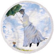 Ms Monet Blown Away  Round Beach Towel