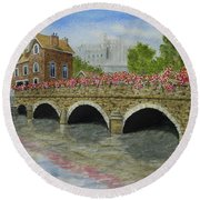Ms23 French Stone Bridge  Round Beach Towel