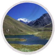 Mt Aconcagua And Laguna Horcones Round Beach Towel