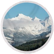 Mt Baker And Clouds Round Beach Towel