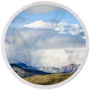 Mt Denali In The Clouds Round Beach Towel