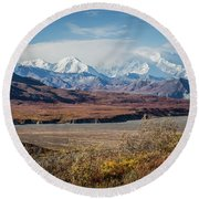 Mt Denali View From Eielson Visitor Center Round Beach Towel