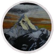 Mt Everest Round Beach Towel by Richard Le Page
