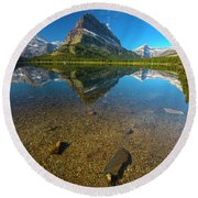 Mt. Grinnell Round Beach Towel by Gary Lengyel