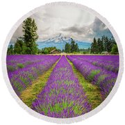 Mt. Hood And Lavender Round Beach Towel