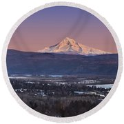 Mt. Hood From Camas Round Beach Towel