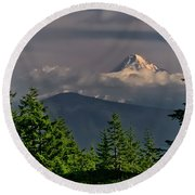 Mt Hood From Grassy Knoll Round Beach Towel