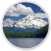 Mt Hood From Lost Lake Round Beach Towel