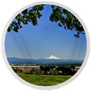 Mt Hood From Rocky Butte Round Beach Towel