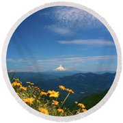Mt. Hood In The Distance Round Beach Towel