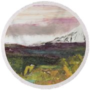 Mt Hood Mirage Round Beach Towel