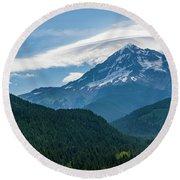 Mt Hood With Lenticular Cloud 2 Round Beach Towel