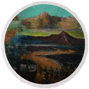 Mt Hood With Paper Mill Round Beach Towel