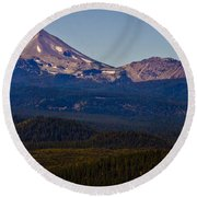 Mt Lassen And Chaos Crags Round Beach Towel